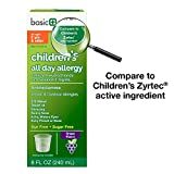 Basic Care Children's All Day Allergy, Cetirizine Hydrochloride Oral Solution 1 mg/mL, Grape Flavor, 8 Ounce