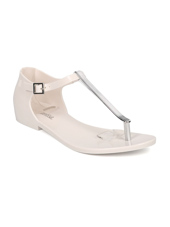 Melissa Honey Chrome Jelly Metallic T-Strap Flat Sandal GH17 B06XYTRYH1 8 M US|White
