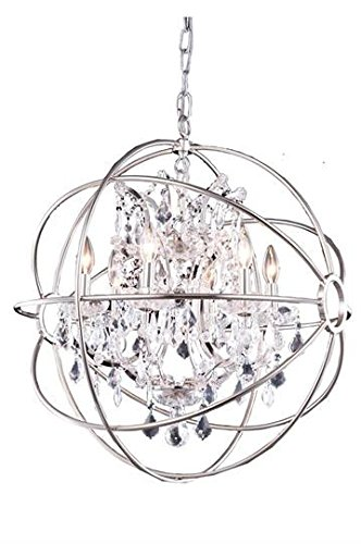 Metro Polished Nickel Modern 6-Light Hanging Chandelier Heirloom Handcut Crystal in Crystal (Clear)-800D25PN-RC--25