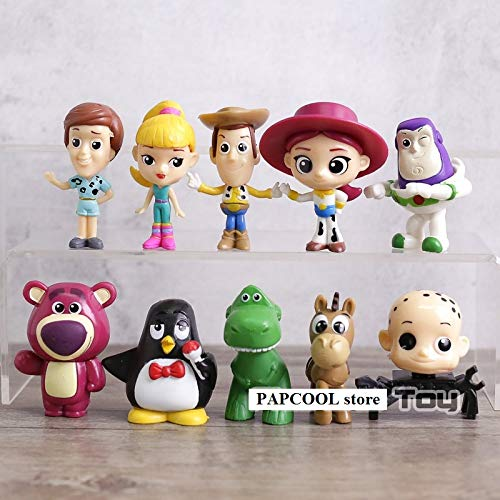 PAPCOOL Set 10 Toy Figures 2 inch Hot Toys Woody Buzz Lightyear Jessie Hamm Bullseye Mini Small Action Figure Christmas Collectibles Halloween Collectable Gifts Collectible Big Gift for Kids Baby