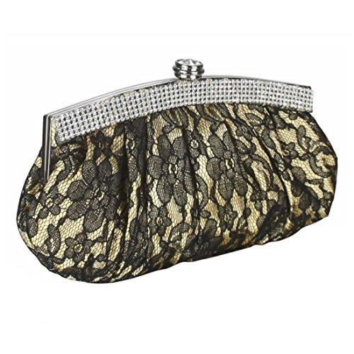 Foral Design Satin Lace Clutch Bag Diamante Crystal Trim Wedding Bridal Evening Party Prom Bags Handbag Purse Gold