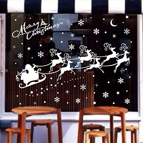 AMS 202 Pieces Christmas Decoration Baubles Sleigh Snowflake PVC Window Clings Decals Wall Stickers Oenaments for Home, Office, New Year, Christmas Party Supplies
