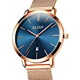 Rose Gold Ultra Thin Dress Watches for Women, Work Office Wristwatches with Analog Quartz Movement Date Waterproof Blue Dial Watch, Beauty Milanese Loop Mesh Steel Band Watch, Easter Gift for Her