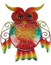 HONGLAND Owl Wall Art Decoration Metal Wall Sculpture Mosaic Glass Hanging Decor for Home Garden