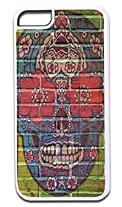 Sugar Skull Wall Art- Case for the APPLE IPHONE 6 PLUS ONLY!!! (Not Compatible with the Regular Iphone 6!!) -Hard White Plastic Outer Case