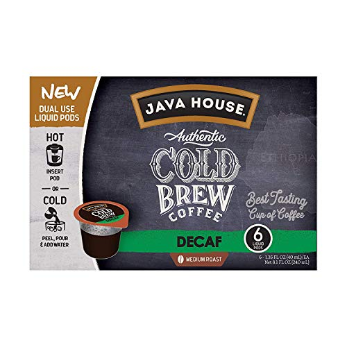 JAVA HOUSE Authentic Cold Brew Coffee, DECAF, K-Cup Coffee Pods, Medium Roast (6 Count) from Java House