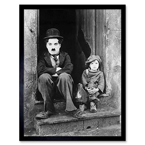 Silent Movie Still Charlie Chaplin The Kid Photo Art Print Framed Poster Wall Decor 12x16 - Chaplin Posters Charlie Movie