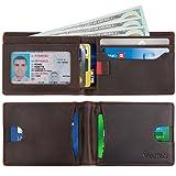 WARDWOLF Leather Bifold Wallets for Men Thin Slim RFID Blocking Front Pocket