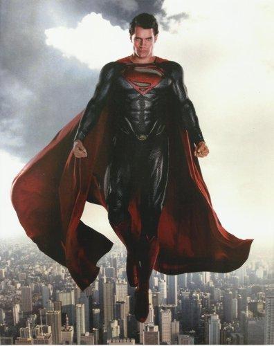 (Man of Steel Henry Cavill in Superman uniform above Metropolis 8 x 10 Photo)
