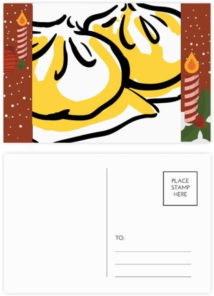 China Chinese Dish Delicious Pattern Christmas Candle Greeting Postcard Congrats Mailing Card