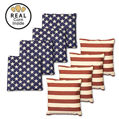 Real Corn Filled Cornhole Bags - Set of 8 Bean Bags for Corn Hole Game - Regulation Size & Weight - Stars and Stripes
