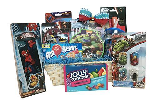 Boys Christmas Gift Baskets :: 10 Items For Kids :: Ultimate Superhero Fun & Games ()