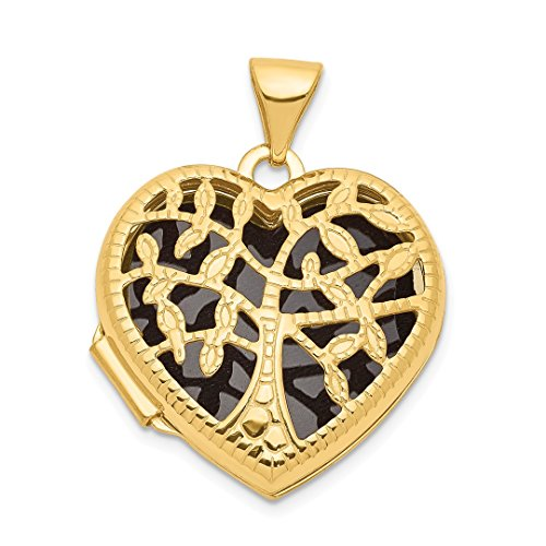 ICE CARATS 14kt Yellow Gold 18mm Heart Tree Photo Pendant Charm Locket Chain Necklace That Holds Pictures Fine Jewelry Ideal Gifts For Women Gift Set From Heart -