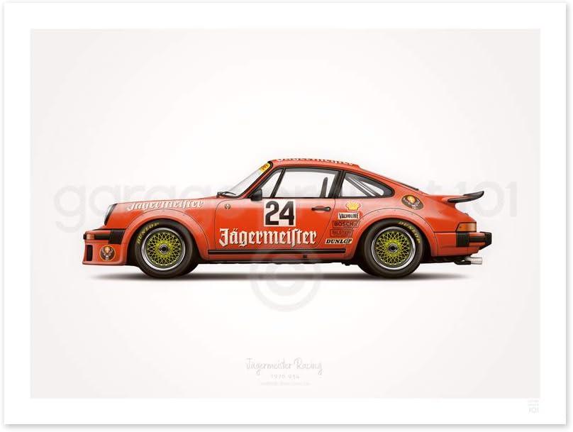 Porsche Turbo RSR Type 934 Jägermeister Illustration Poster Print