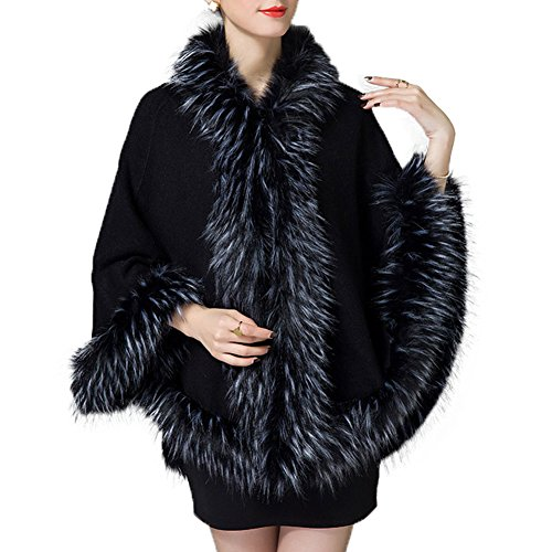 Cape Hooded Trim (Caracilia Women's Faux Fur Trim Wool Blend Hooded Poncho Cloak Coat Black C88)