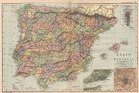 Map Of Spain Near Gibraltar.Iberia Spain Portugal Inset Gibraltar Lisbon Madrid Bacon