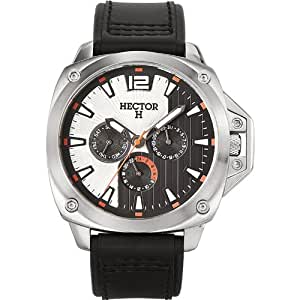 Hector Men's 665252 Silver Sun-Ray Day and Date Black Watch