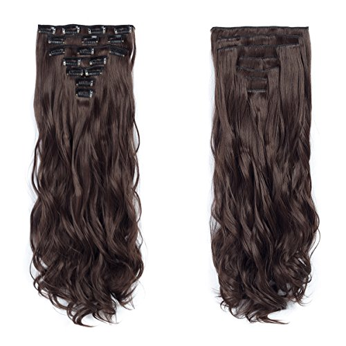 7pcs/set Clip in Hair Extensions 20inch Long Wavy Heat Resistant Synthetic Hairpiece Gifts for Girl Lady Women (Dark Brown 4#)