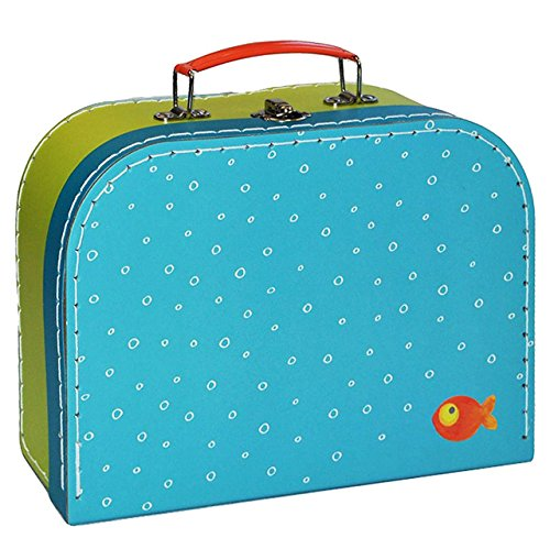 Kinderkoffer GROß - Fisch türkis grün / Fische - Pappkoffer - Puppenkoffer Koffer Kinder Pappe Karton - ideal für Spielzeug und als Geldgeschenk