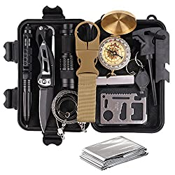 TRSCIND Survival Gear Kits 8-In-1 Molle Pouch/Holster, Tactical Outdoor Gears, Survival Bracelet, Emergency Blanket, Tactical Pen for Camping, Hiking, Hunting