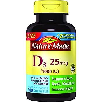 Nature Made Vitamin D3 1000 IU Softgels 300 Ct Mega Size (Packaging may vary)