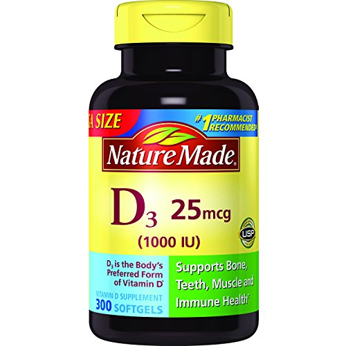 Nature Made Vitamin D3 1000 IU Softgels 300 Ct Mega Size (Packaging may vary)