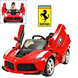 Licensed Ferrari Laferrari FXX K Electric Ride On Car for Kids with 2.4 G Remote Control, 12V 2 Motors, Openable Door, Leather Seat, Led Light & MP3 Socket, DIY Car Body Sticker - Red Latest Model