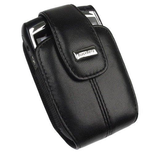 RIM Blackberry 8800, 8830 PDA OEM Original Leather Black Swivel Holster Case with Belt Clip