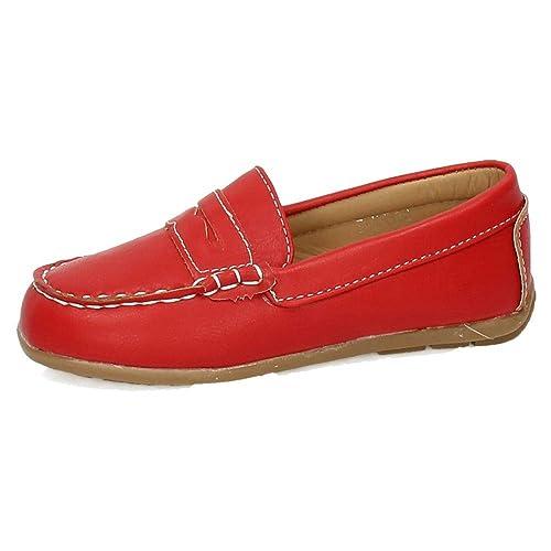 DEMAX 3-NS512 Mocasines Rojos NIÑO Zapatos MOCASÍN Rojo 27