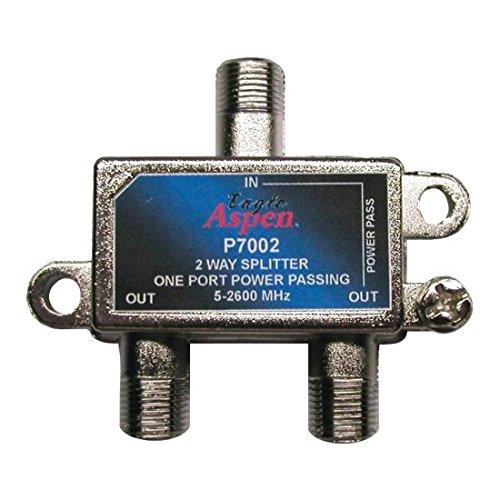 2-Way Splitter 1 Port Power Passing 5 MHz to 2600 MHz 2 GHz Satellite CATV Off-Air Signals UHF/VHF Video Splitter