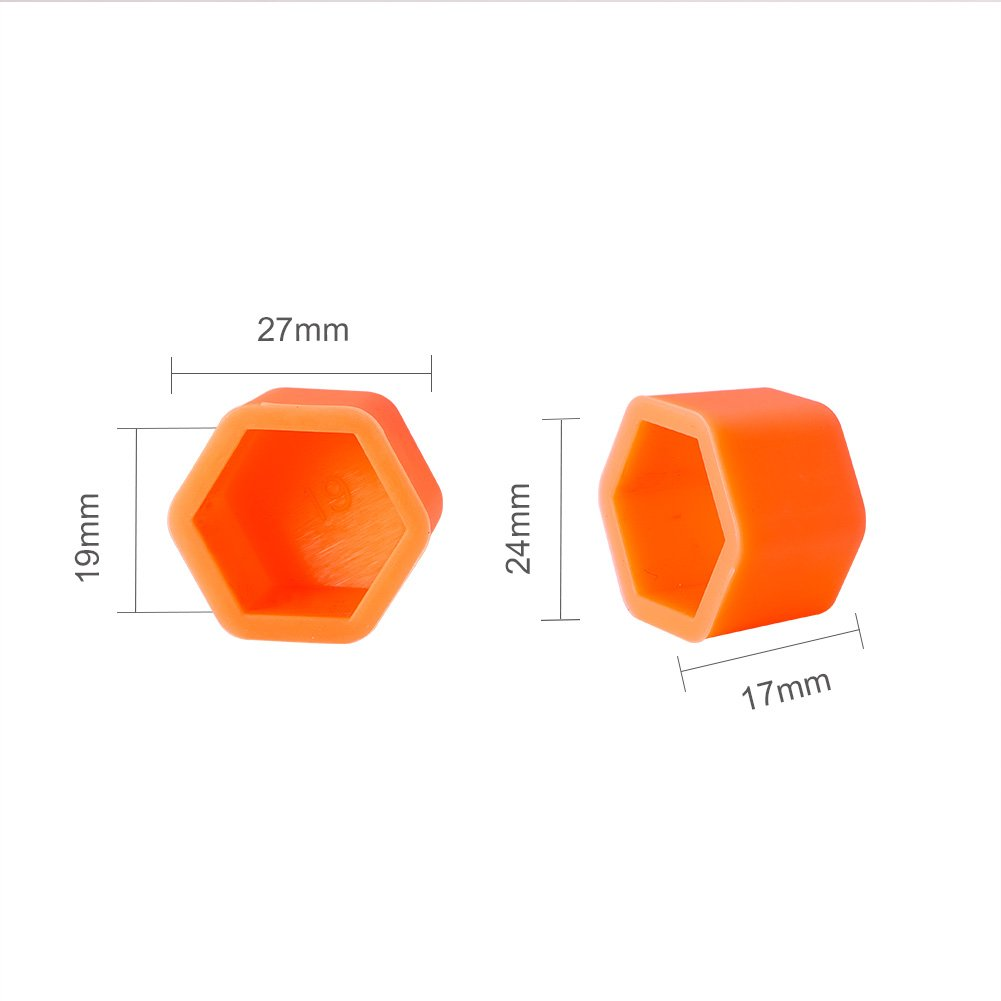 ATMOMO 19mm-ORANGE Silicone Car Wheel Hub Lugs Nuts Bolts Cover Protective Cap Dust Protective Tyre Valve Screw Cap Cover(20pcs/Set) by ATMOMO (Image #4)