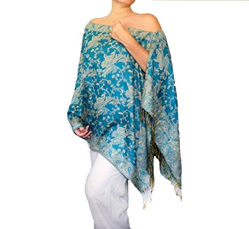 Plus Size Turquoise Wrap Shawl Aqua Pashmina Scarf Poncho Top By ZiiCi