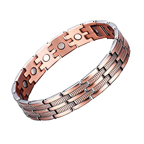 YF Health Bracelet Stainless Steel Chunky Chain Bracelet Pure Copper Healthy Sleek Bracelet for Men Arthritis Pain Relief with Removal Tool for Most Any Occasion Holiday Birthday - Magazine Vintage Cuban