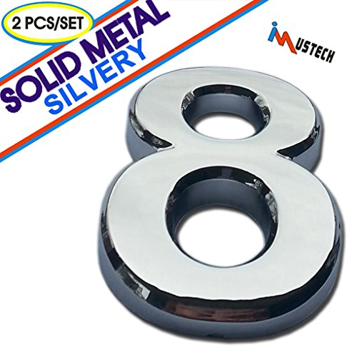 2 Pcs of Number 8 Solid Metal Mailbox Number in Silver Plating, BLK-Tech 2-3/4 Inch Eco-Friendly Mailbox Number, House Number, Door Number, Hotel Number, Address Number