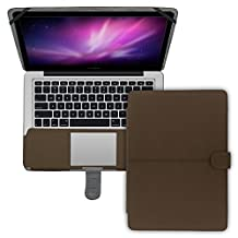 """MacBook Pro Case A1278, SlickBlue Premium Quality Luxury Retro Leather Folio Case Cover with Snap-on closure for MacBook Pro 13"""" (Model: A1278)- Brown"""