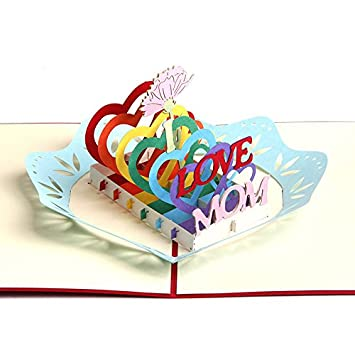 Queeni 3D Creative Pop Up Greeting Cards Mothers Day Handmade Thank You Thanksgiving Birthday Post