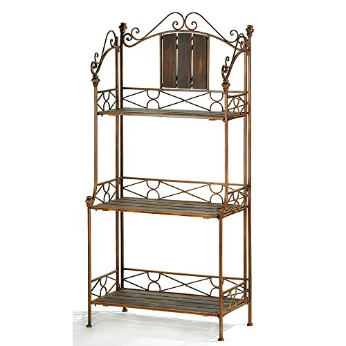 Vintage Bakers Rack, Metal Antique Rustic Bakers Rack Storage For Kitchens (Bakers Antique Racks)