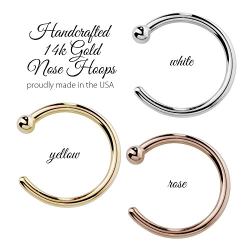 FreshTrends Nose Ring Hoop 14k White Gold 20 Gauge 3/8'' by FreshTrends (Image #5)
