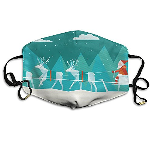 Unisex Dust Allergy Flu Masks Abstract Polygonal Illustration Of Santa Sleigh In Winter Landscape Personality Fashion Mask