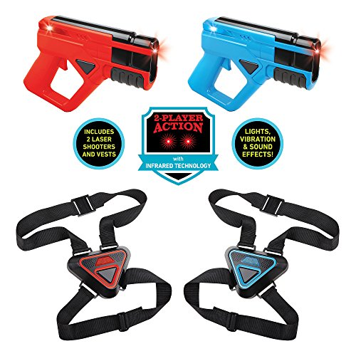 Sharper Image Ultimate 2 Player Electronic Laser Tag Gaming Set  Infrared Technology  Includes 2 Amazing Laser Blasters   2 Adjustable Target Vests  Fun   Exciting Lasertag Kit For Kids Red Blue