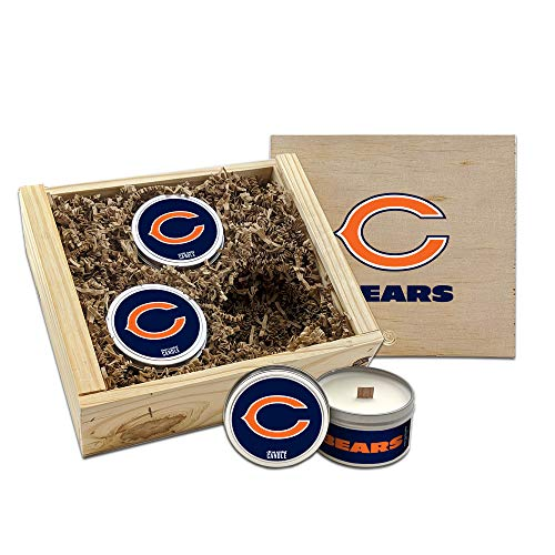 Worthy Promo NFL Scented Candles Gift Set in Wood Box (Chicago Bears)