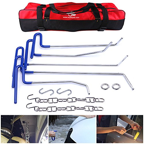 AUTOPDR 11Pcs Auto Car Body Paintless Dent Puller Repair Tools Pops a Dent Auto Car Dent Removal Remover Tools Pdr Rod Kit Car Hail Damge Repair Starter Set Equipment with Tool Bag (Blue)