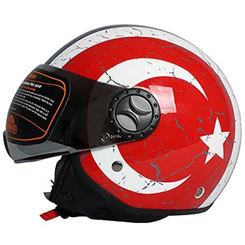 - WWtoukui Italian Tank Helmet Motorcycle Half-Covered Retro Helmet, Four Seasons Universal Flip Electric Car Locomotive Pilot Half Helmet DOT Certified Helmet,L