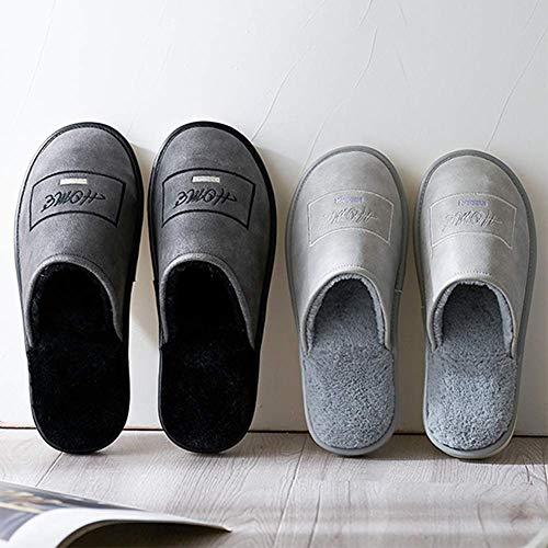 Black Poids Molleton Doux Cuir Coton Tongues Garder Au Chaussures Lavable Confortable Chaud Pantoufles Intérieur Antidérapant Léger Faux SFHK Accueil PU WwAYH8Yq