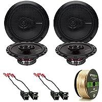 4x Rockford Fosgate R165X3 Prime 6.5 Inch 180 Watt 3-Way Full-Range Black Car Coaxial Audio Speaker Bundle Combo With 4x Speaker Harness for Select 1984-2013 GM Vehicles + 50 Ft 16-Gauge Speaker Wire