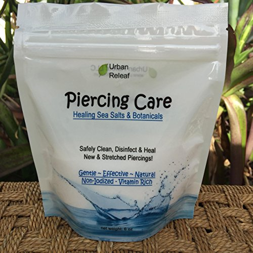 PIERCING CARE 6 oz BAG ! Healing Sea Salts & Botanical AFTERCARE ! Safely Clean, Disinfect & Heal New & Stretched Piercings. Gentle ~ Effective ~ Natural