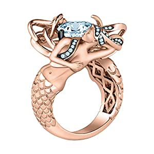 Women's Fashion Jewelry 14K Rose Gold Plated Mermaid Ring In Cushion & Round Cut Aquamarine Stone (4)