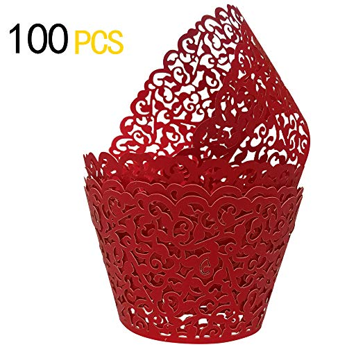 (GOLF 100Pcs Christmas Cupcake Wrappers | Artistic Bake Cake Paper Filigree Little Vine Lace Laser Cut Liner Baking Cup Wraps Muffin CaseTrays for Wedding Party Birthday Decoration (Red))