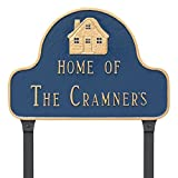 Montague Metal Home of Arch Address Sign Plaque with Lawn Stakes, 11'' x 16'', Swedish Iron/Silver