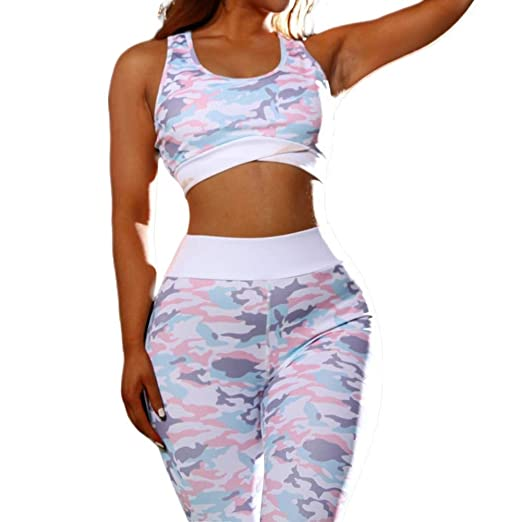 Amazon.com: ZABBC Cloth ingPatchwork Ropa de Yoga Corta para Mujer y Sujetador + Pantalones Largos Gimnasio Pale Pink Estampado de cadera Lifting Cintura ...